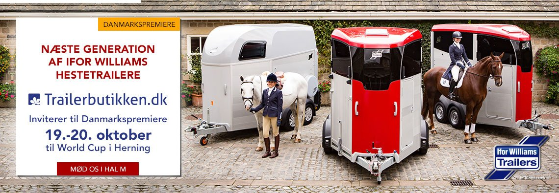Ifor Williams HBX & HBE hestetrailer danmarkspremiere til World Cup i Herning